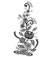 floral element Black-and-white flowers and leaves vector image vector image