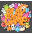 Game kawaii design Cute gaming elements objects vector image