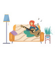 girl playing guitar and singing young woman vector image