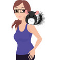 girl with chinchilla in glasses in blue shirt vector image vector image