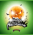 happy halloween with bats and moon on green vector image vector image