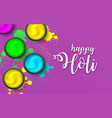 happy holi powder on violet backdrop gulaal vector image vector image