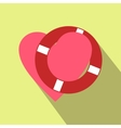 Heart with lifeline flat icon vector image