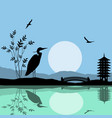 heron silhouette on river at beautiful asian place vector image