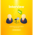 interview poster of isometric color design vector image