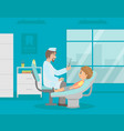 male dentist doctor curing teeth to boy in clinic vector image vector image