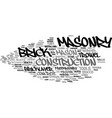 masonry word cloud concept vector image