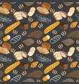 pattern of bakery food bread rye bread ciabatta vector image