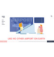 people in airport terminal website landing page vector image vector image