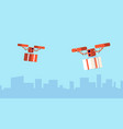 presents drone delivery christmas gift flying vector image vector image