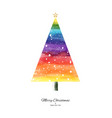 rainbow watercolor christmas tree hand-painted vector image vector image