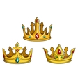 Royal golden crowns with jewelry vector image vector image