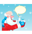 santa claus talking to blue bird vector image
