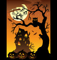 scene with halloween mansion 6 vector image