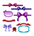 Set for design bows ribbons vector image