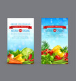 set of two vertical banners with realistic vector image vector image