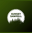 sunset circular blade and pine forest sawmill vector image