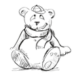 Teddy bear in a cap and scarf vector image