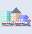 train flat skew icon vector image
