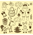 Vintage christmas set old paper vector image