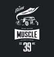 vintage hot rod vehicle tee-shirt logo vector image vector image