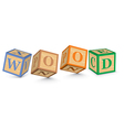 Word WOOD written with alphabet blocks vector image vector image