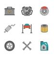 Auto service flat line icons vector image