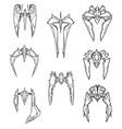 set of hand drawn cartoon alien space ships vector image
