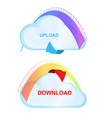 icons cloud with an arrow and scale load with vector image