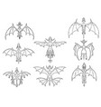 set of hand drawn cartoon dragons in top down view vector image