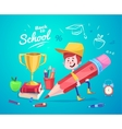 Back to school Cute schoolchild near supplies vector image