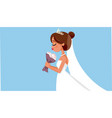 beautiful bride holding flower bouquet wedding ill vector image vector image