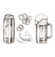 beer set and snack collection vector image