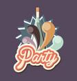 bottle drink liquor celebration party retro vector image