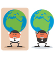 Businessman Holding Earth vector image vector image