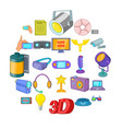 camera film icons set cartoon style vector image vector image