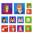 care of hair and face flat icons in set collection vector image