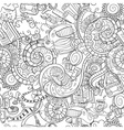 cartoon doodles morning routine seamless vector image vector image