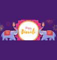 cartoon elephants holding lit oil lamps on purple vector image vector image