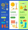 cartoon gardening equipment banner vecrtical set vector image vector image