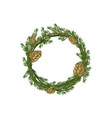 cartoon merry christmas wreath spruce vector image vector image
