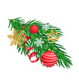 christmas tree branch with decorations vector image