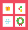 christmas wreath and present box with bow ribbon vector image vector image