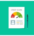 credit score document paper sheet chart vector image vector image