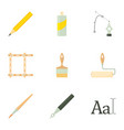 drawing tools icons set cartoon style vector image vector image