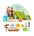 family of tourists with luggage engaged in hiking vector image