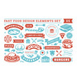 fast food and street signs and symbols with retro vector image vector image
