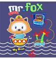 fox sailorman cute cartoon vector image