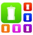 garbage bin set color collection vector image vector image