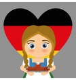 Girl cartoon costume traditional heart flag icon vector image vector image